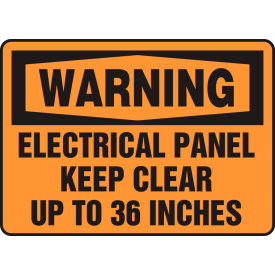 """Accuform MELC309VS Warning Sign, Electrical Panel Keep Clear Up To 36"""", 10""""W x 7""""H, Adhesive... by"""