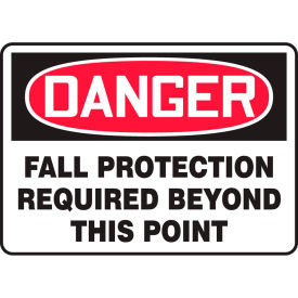 """Accuform MFPR104VS Danger Sign, Fall Protection Required Beyond..., 10""""W x 7""""H, Adhesive Vinyl by"""
