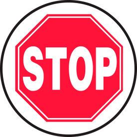 "Accuform MFS2217 Stop Floor Sign, 17"" Diameter, Adhesive Vinyl by"