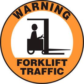 "Accuform MFS2817 Warning Forklift Traffic Floor Sign, 17"" Diameter, Adhesive Vinyl, 1 by"