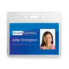 """Baumgartens ID Badge Holder, Horizontal, 3-1/2"""" x 2-1/2"""", Clear, 12/Pack by"""