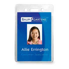 """Baumgartens ID Badge Holder, Vertical, 2-1/2"""" x 3-1/2"""", Clear, 12/Pack by"""