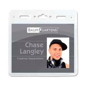 """Baumgartens ID Badge Holder, Horizontal, 4"""" x 3"""", Clear, 50/Pack by"""