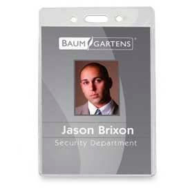 """Baumgartens ID Badge Holder, Vertical, 2-5/8"""" x 3-7/8"""", Clear, 50/Pack by"""