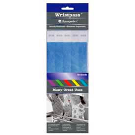 "Baumgartens® Wristpass™ Security Wrist Bands, 10"" x 3/4"", Blue, 100 Bands/Pack"