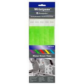 """Baumgartens Wristpass Security Wrist Bands, 10"""" x 3/4"""", Green, 100 Bands/Pack by"""