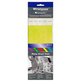 "Baumgartens Wristpass Security Wrist Bands, 10"" x 3/4"", Yellow, 100 Bands/Pack by"
