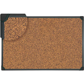 "Universal® Tech Cork Board - 36"" x 24"" - Rubber-Cork Surface with Black Plastic Frame"