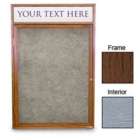 """United Visual Products 18""""W x 24""""H 1-Door Enclosed Gray Easy Tack Board with Header and Walnut Frame"""