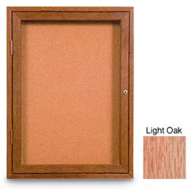 """United Visual Products 18""""W x 24""""H 1-Door Non-illuminated Corkboard with Light Oak Frame"""