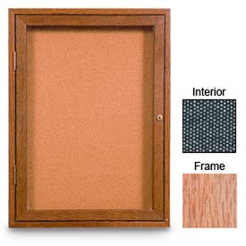 """United Visual Products 24""""W x 36""""H 1-Door Enclosed Black Easy Tack Board with Light Oak Frame"""