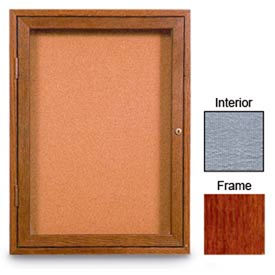 """United Visual Products 24""""W x 36""""H 1-Door Enclosed Gray Easy Tack Board with Cherry Frame"""