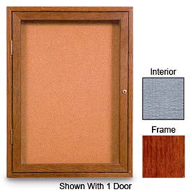 """United Visual Products 42""""W x 32""""H 2-Door Enclosed Gray Easy Tack Board with Cherry Frame"""