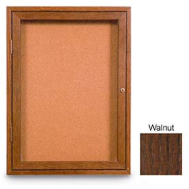 """United Visual Products 42""""W x 32""""H 2-Door Non-Illuminated Corkboard with Walnut Frame"""