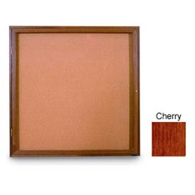 """United Visual Products 36""""W x 36""""H 1-Door Non-Illuminated Corkboard with Cherry Frame"""