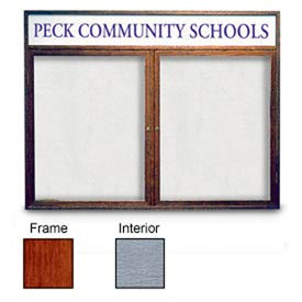 "United Visual Products 48""W x 36""H 2-Door Enclosed Gray Easy Tack Board with Header and Cherry Frame"