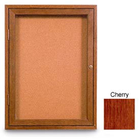 """United Visual Products 48""""W x 36""""H 2-Door Non-Illuminated Corkboard with Cherry Frame"""