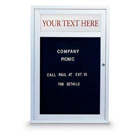 "United Visual 24""W x 36""H 1-Door Indoor Enclosed Illuminated Letter Board w/Header & Satin Frame"