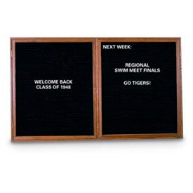 """United Visual Products 42""""W x 32""""H 2-Door Indoor Wood Enclosed Letter Board with Walnut Frame"""