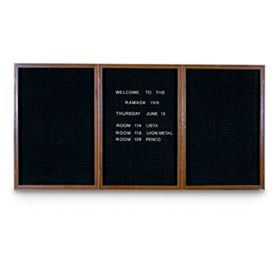 "72"" x 36"" 3-Door Indoor Wood Enclosed Letter Board with Walnut Frame"