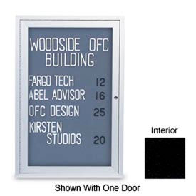 "United Visual Products 42""W x 32""H 2-Door Indoor Enclosed Black Easy Tack Board with Satin Frame"
