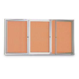 "United Visual 96""W x 48""H 3-Door Indoor Enclosed Illuminated Corkboard with Satin Aluminum Frame"