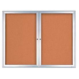 "United Visual Products 60""W x 36""H 2-Door Radius Framed Indoor Enclosed Corkboard"