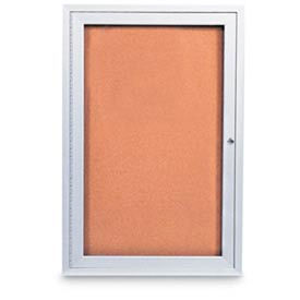 """United Visual Products 18""""W x 24""""H 1-Door Outdoor Enclosed Corkboard with Satin Aluminum Frame"""