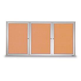 "United Visual 96""W x 48""H 3-Door Outdoor Enclosed Illuminated Corkboard w/Satin Aluminum Frame"