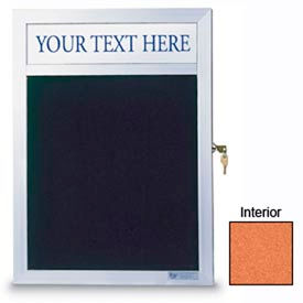 """United Visual Products 30""""W x 36""""H Slim Style Enclosed Corkboard with Header and Satin Frame"""