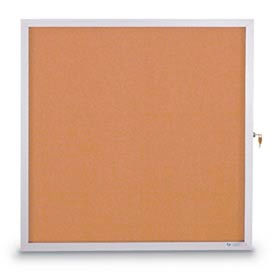 "United Visual Products 36""W x 36""H Slim Style Enclosed Corkboard with Satin Frame"