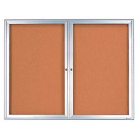 """United Visual Products 42""""W x 32""""H 2-Door Indoor Enclosed Corkboard with Radius Frame"""