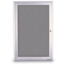"""United Visual Products 36""""W x 36""""H 1-Door Radius Framed Enclosed Gray Easy Tack Board W/Satin Frame"""