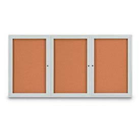 "United Visual Products 72""W x 48""H 3-Door Indoor Enclosed Corkboard with Radius Corners"