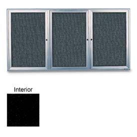 "United Visual 72""W x 36""H 3-Door Radius Framed Enclosed Black Easy..."