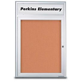 "United Visual Products 18""W x 24""H 1-Door Indoor Enclosed Corkboard with Header and Radius Corners"