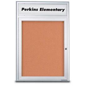 "United Visual Products 18""W x 24""H 1-Door Indoor Enclosed Corkboard with Header and Radius Corners"
