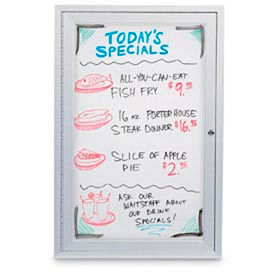 """United Visual Products 24""""W x 36""""H 1-Door Indoor Enclosed White Dry-Erase Board by"""