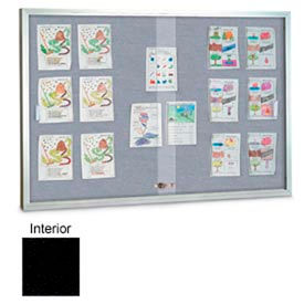 "United Visual Products 60""W x 36""H Sliding Glass Black Easy Tack Board with Satin Frame"