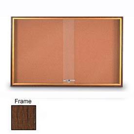 "United Visual Products 72""W x 36""H Sliding Door Corkboard with Walnut Frame"