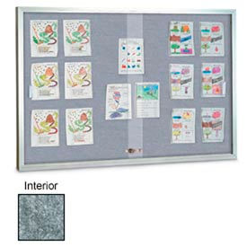 """United Visual Products 96""""W x 48""""H Sliding Glass Marble Easy Tack Board with Satin Frame"""