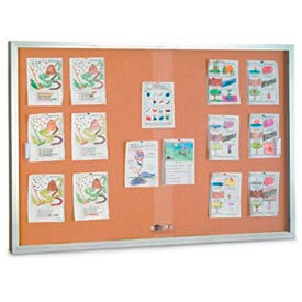 "United Visual Products 96""W x 48""H Sliding Glass Door Corkboard with Satin Radius Frame"
