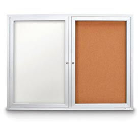 "United Visual Products 42""W x 32""H Indoor Combo Board w/White Dry-Erase Board & Corkboard"