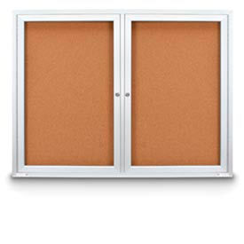 """United Visual Products 72""""W x 36""""H Outdoor Combo Board w/Two Corkboards"""