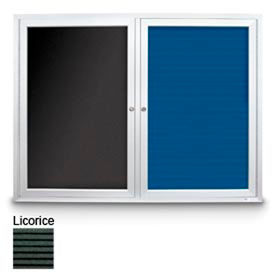 "United Visual Products 72""W x 36""H Outdoor Combo Board, Licorice Letter & Licorice Vinyl Corkboard"