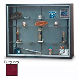"""48"""" x 36"""" x 8"""" Black Laminate Display Case w/Two Shelves and Burgundy Interior"""