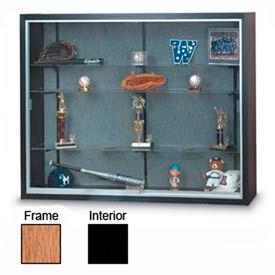 "72"" x 48"" x 12"" Oak Laminate Display Case w/Three Shelves and Black Interior"