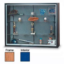 "60"" x 48"" x 16"" Oak Laminate Display Case w/3 Shelves and Cobalt Accent Interior"