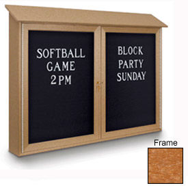 """United Visual Products 45""""W x 30""""HLetter Board Double Door Message Center with Cedar Frame"""