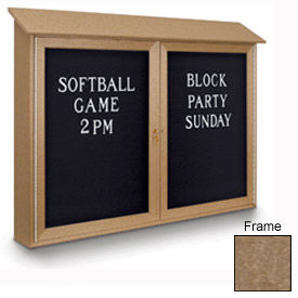 """United Visual Products 45""""W x 36""""H Letter Board Double Door Message Center with Weathered Wood Frame"""
